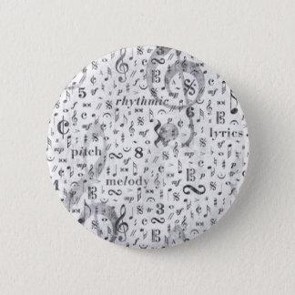 Bóton Redondo 5.08cm Tema da música do teste padrão da nota da música