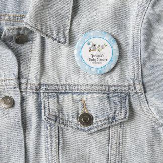 Bóton Redondo 5.08cm Tema do chá de fraldas da coruja do bebê azul