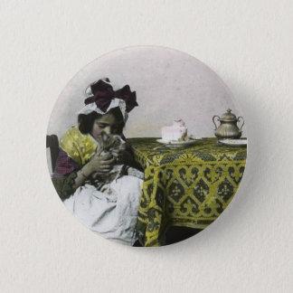 Bóton Redondo 5.08cm Tempo do chá da menina do Victorian com vintage do