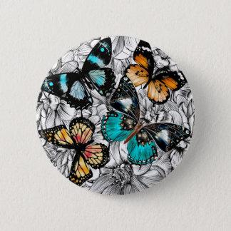 Bóton Redondo 5.08cm Teste padrão colorido do esboço das borboletas