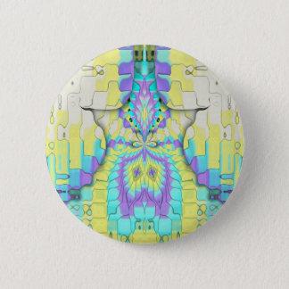 Bóton Redondo 5.08cm Teste padrão de néon festivo vibrante do abstrato