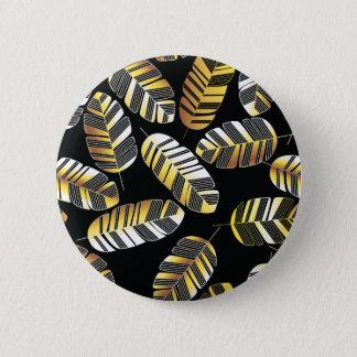 Bóton Redondo 5.08cm Teste padrão dourado preto da folha da pena do art