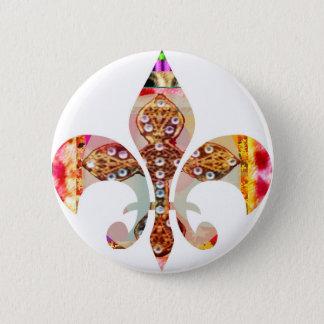 Bóton Redondo 5.08cm Teste padrão floral da jóia de Fleur di lis Flor