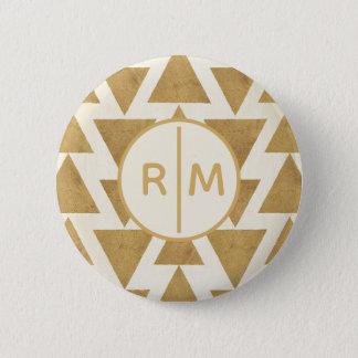 Bóton Redondo 5.08cm Teste padrão geométrico do ouro exterior de etapa