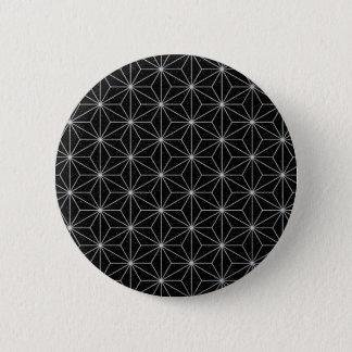 Bóton Redondo 5.08cm Teste padrão geométrico elegante - prata & Preto