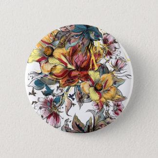 Bóton Redondo 5.08cm Teste padrão tirado realístico do buquê floral