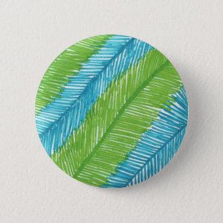 Bóton Redondo 5.08cm Teste padrão verde e azul das folhas de palmeira