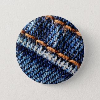 Bóton Redondo 5.08cm Textura do close up de calças de ganga