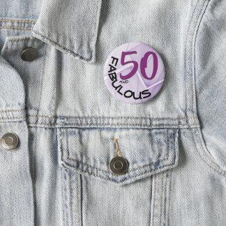 Bóton Redondo 5.08cm Tipo roxo & preto aniversário de | 50th