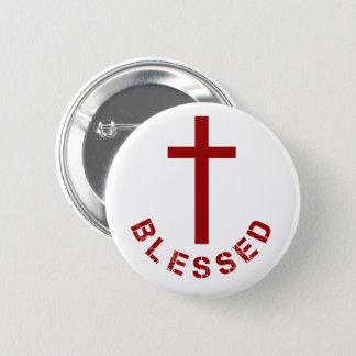 Bóton Redondo 5.08cm Tipografia abençoada cristão da cruz vermelha