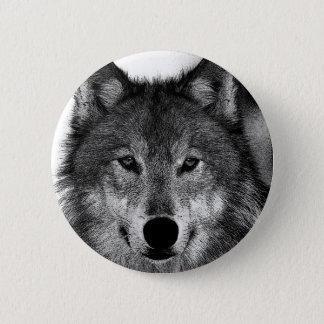 Bóton Redondo 5.08cm Trabalhos de arte do lobo preto & branco