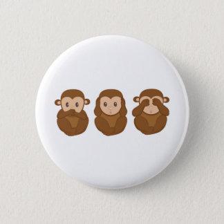 Bóton Redondo 5.08cm Três pouco monkeye