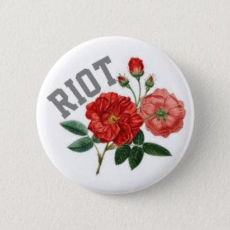 Bóton Redondo 5.08cm Tumultue com padrão dos rosas, botão redondo da