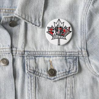 Bóton Redondo 5.08cm Um botão com a folha de bordo de Canadá