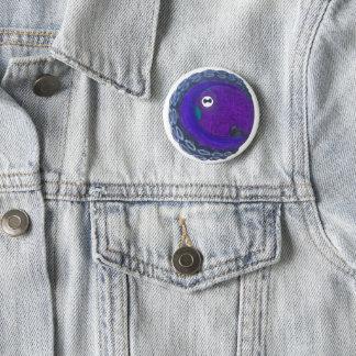 Bóton Redondo 5.08cm Um botão com um polvo roxo e azul nele