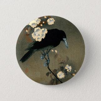 Bóton Redondo 5.08cm Um corvo e uma flor pelo vintage de Ohara Koson