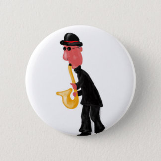 Bóton Redondo 5.08cm Um homem que joga o saxofone