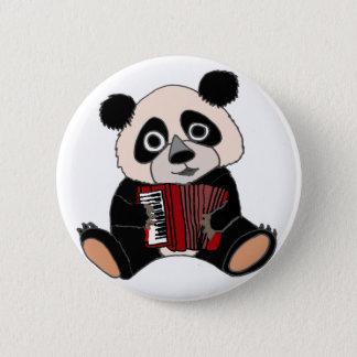 Bóton Redondo 5.08cm Urso de panda engraçado que joga o acordeão