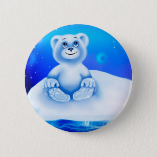 Bóton Redondo 5.08cm Urso polar animado bonito, pequeno