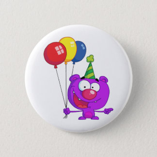 Bóton Redondo 5.08cm Urso roxo que veste-se guardarando balões do