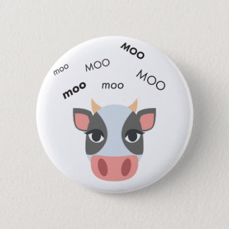 Bóton Redondo 5.08cm Vaca Emoji bonito do MOO