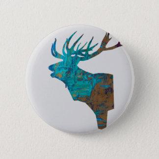 Bóton Redondo 5.08cm veado principal dos cervos nos turquois