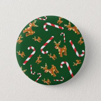 Bóton Redondo 5.08cm Verde bonito do teste padrão do bastão de doces de