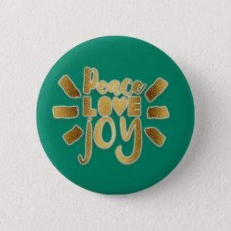 Bóton Redondo 5.08cm Verde e presente do Natal da alegria do amor da
