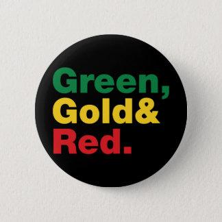 Bóton Redondo 5.08cm Verde, ouro & vermelho