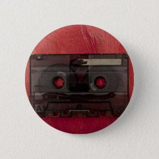 Bóton Redondo 5.08cm Vermelho do vintage da música da cassete de banda