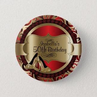 Bóton Redondo 5.08cm Vermelho e aniversário do ouro com saltos altos do