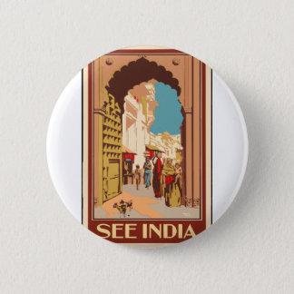 Bóton Redondo 5.08cm Viagens vintage India