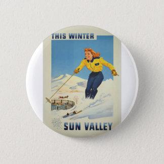 Bóton Redondo 5.08cm Viagens vintage Sun Valley Idaho