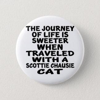 Bóton Redondo 5.08cm Viajado com o gato do chausie do Scottie