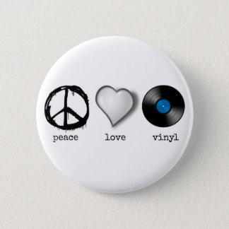 Bóton Redondo 5.08cm Vinil retro do amor da paz 70s