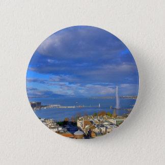 Bóton Redondo 5.08cm Vista panorâmica do jato de água de Genebra