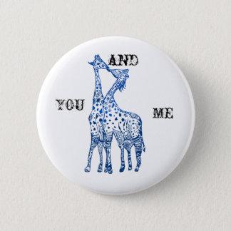 Bóton Redondo 5.08cm Você e mim crachá redondo do beijo de Girafes