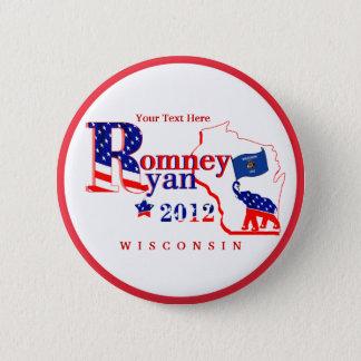 Bóton Redondo 5.08cm Wisconsin Romney e o botão de Ryan 2012