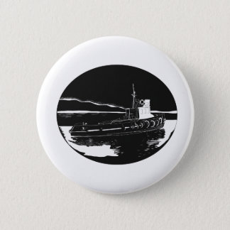 Bóton Redondo 5.08cm Woodcut do Oval do rebocador do rio
