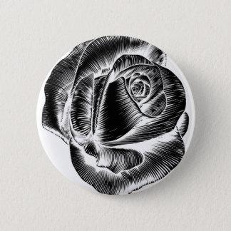 Bóton Redondo 5.08cm Woodcut gravado da flor do vintage gravura a