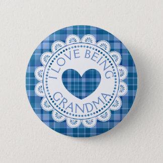 Bóton Redondo 5.08cm Xadrez que azul eu amo ser botão da avó