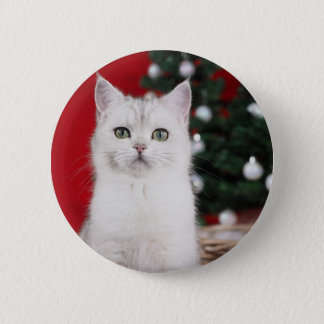 Bóton Redondo 5.08cm XMAS white Cat