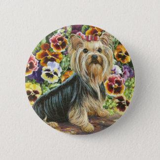 Bóton Redondo 5.08cm Yorkie no Pin do botão do jardim do amor perfeito