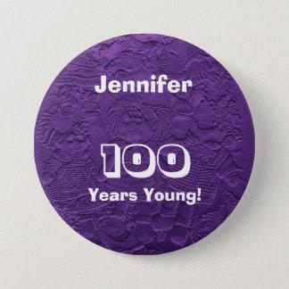 Bóton Redondo 7.62cm 100 anos de aniversário roxo novo do Pin do botão