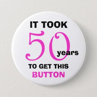 Bóton Redondo 7.62cm 50th Botão dos presentes da mordaça do aniversário