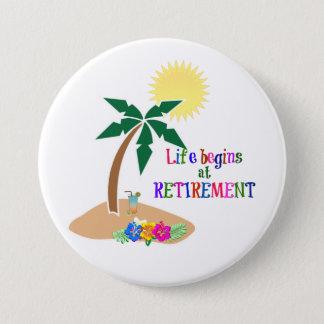Bóton Redondo 7.62cm A vida começa na aposentadoria, praia tropical