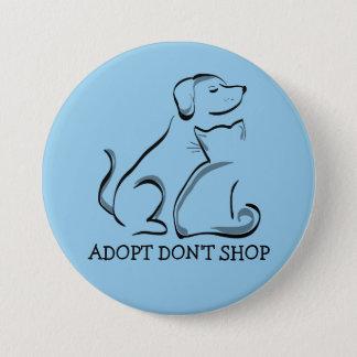Bóton Redondo 7.62cm Adopt não compra o gato do cão, LG botão redondo