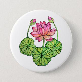 Bóton Redondo 7.62cm Aguarela Lotus cor-de-rosa com botões & folhas