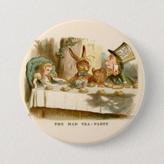 "Bóton Redondo 7.62cm Alice - tea party louco - 3"" botão"