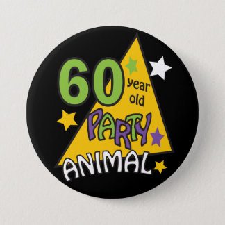 Bóton Redondo 7.62cm Animal de partido das pessoas de 60 anos - 60th